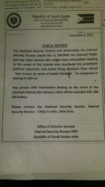 South Sudan National Security, the very entity suspected to have carried out the killing, is ready to spend $50,000 on anyone who has information leading to arrest of Isaiah Abraham's murderers. What do you think about that offer? Sincere or just adding salt into the injury? Can the murderers investigate themselves or should they be assumed innocent till proven guilty if ever they would be?