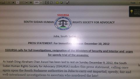 "South Sudan Civil Society Calls For Resignation of Oyai Deng Ajak and Manani Magaya for ""failing to prevent the assassination of Isaiah Abraham and equally failing to protect people in Juba against organized killings."""