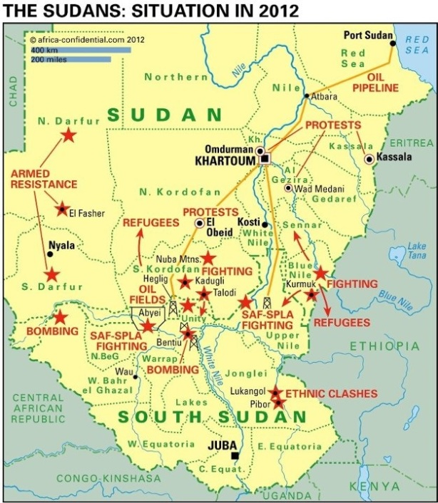 Sudan--South Sudan Borderline as of 2012 depicting conflict-ridden areas
