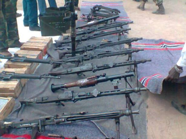 Cache of Weapons and Ammunitions seized from UNMISS