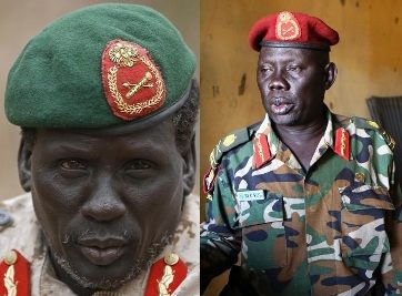 Peter Gadet, former head of SPLA division 8 based in Bor who led the first rebellion against the government on December 17th, 2013; Marial Chanuong, head of the elite presidential guards (Tiger battalion) where the fighting started on December 15th, 2013.