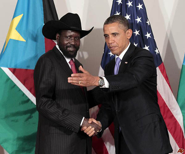 President Kiir with President Obama of the USA at the White House, Washington DC