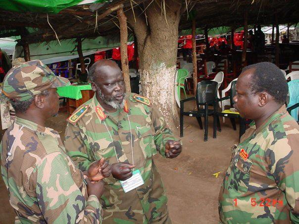 Commander Pagan Amum Okiech, with Chairman Dr. John Garang and Commander Yasir Said Arman, Rumbek Senior, 2003