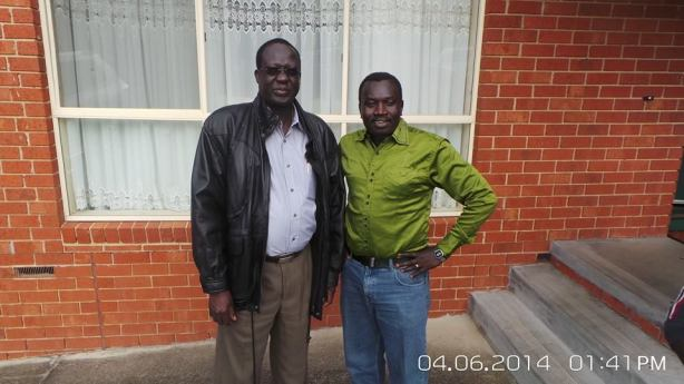 Ajak Deng Chiengkou, the SBS Dinka Radio producer and presenter with James Hoth Maai.