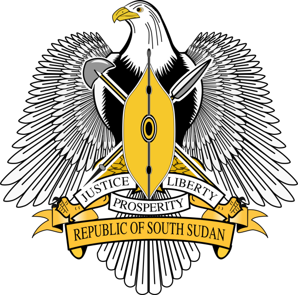 South Sudan's coat of arms, in which the eagle symbolizes vision, strength, resilience and majesty, and the shield and spear the people's resolve to protect the sovereignty of their republic and work hard to feed it.