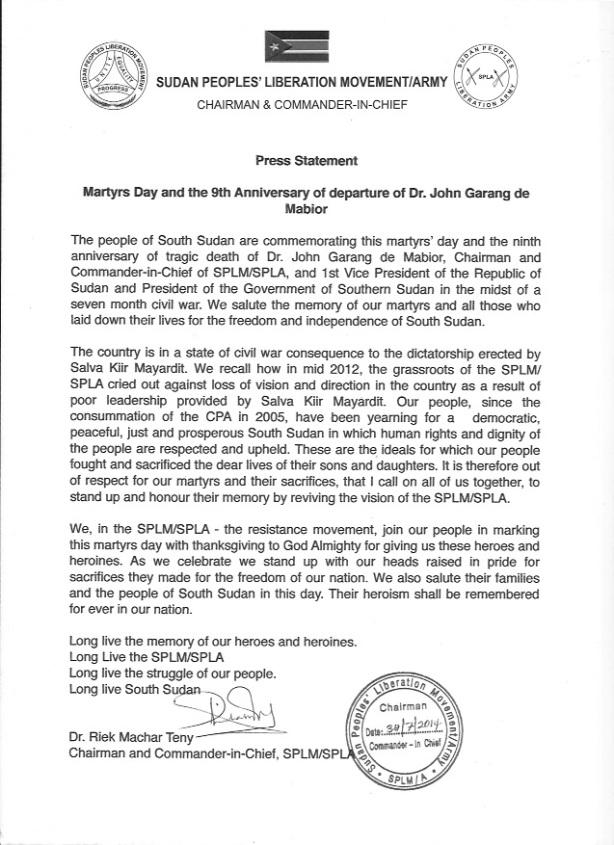 Dr. Riek's Martyrs Day Press Statement  (1)
