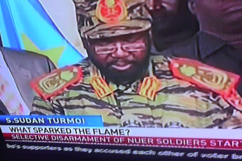 President Kiir on SSTV on December 16th, 2013, declaring that he had foiled an attempted coup by his former deputy, Riek Machar.