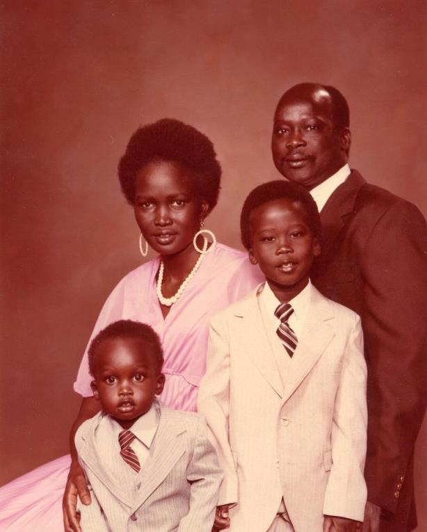 Dr. John Garang and his family: Garang, Madam Nyandeng, Mabior and Chol
