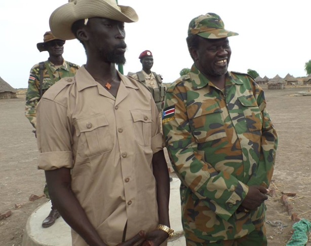 Mabioor de Garang with Riek Machar in the bush