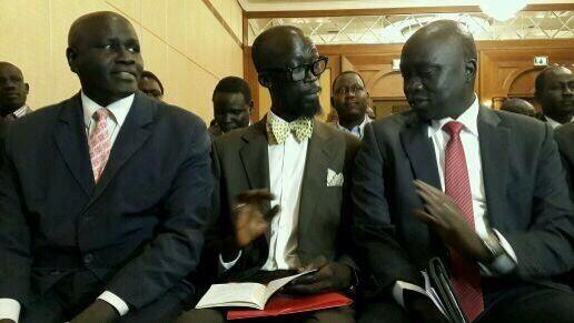 Mabioor de Garang with Hussien Maar in Addis Ababa, rebels' delegation