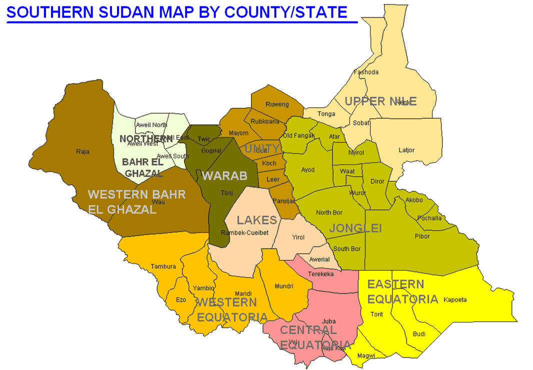 Editorials paanluel wl south sudanese bloggers page 5 south sudan map by counties gumiabroncs Gallery