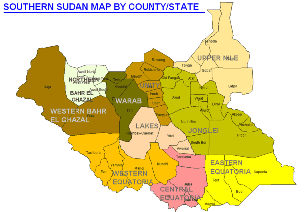 south sudan map by counties