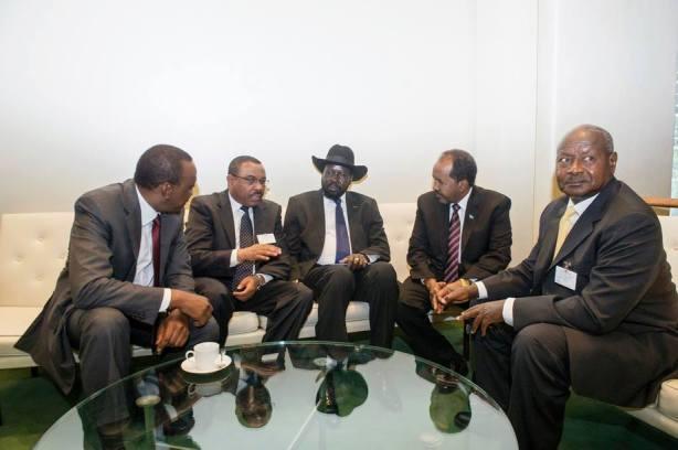 President Uhuru Kenyatta of Kenya; Prime Minister HailMariam of Ethiopia; President Kiir of South Sudan President of Somalia/Djibouti, and President Museveni of Uganda