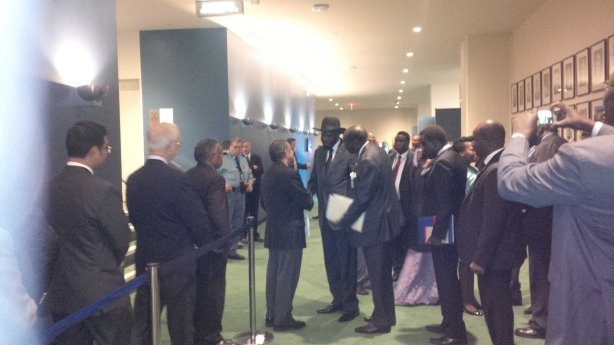 President Kiir being received at the UN