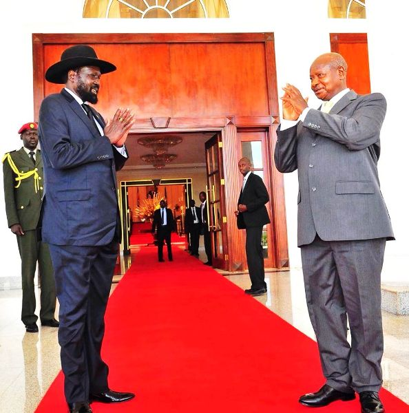 President Kiir and Museveni in Kampala, October 2014