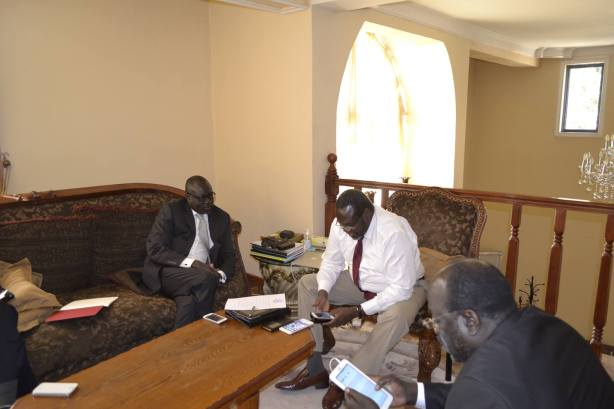 Riek Machar: Today I had a nice meeting with Hon. Henery Dicah Odwar the former member of parliament and Ambassador Lumumba stanislaus the former south sudan ambassador to Geneva after their declaration of joining SPLM.IO