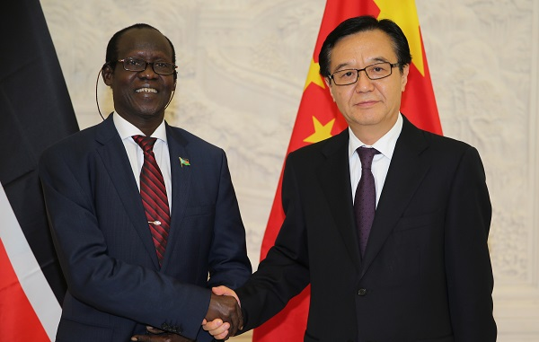 South Sudan Vice President James Wani Igga, with the Chinese Minister Gao Hucheng in Beijing on July 2, 2014