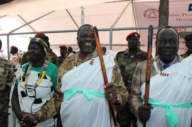 Alfred Lado Gore, with Riek Machar, in Pagak, Upper Nile state, 12 DEC 2014