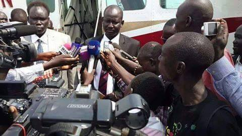 Lul Ruai Koang at Juba International Airport, one day after his defection from Riek Machar's rebel