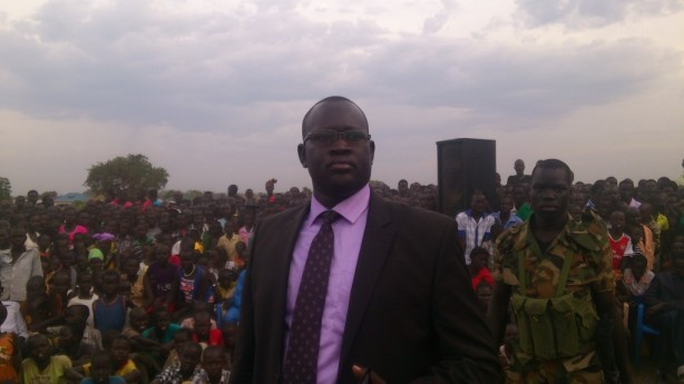 Bor Mayor, Nhial Majak Nhial, addresses IDPs in Nimule - March 2, 2014.