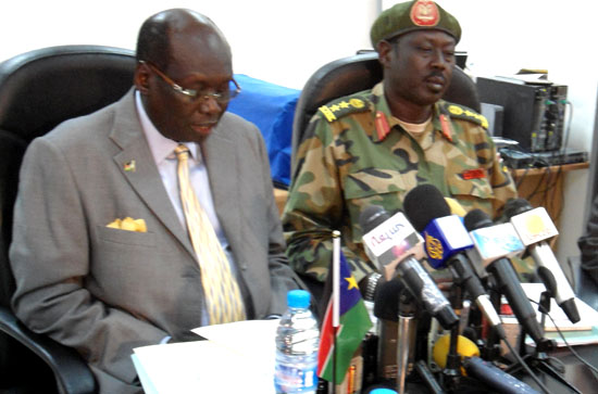 Marial Benjamin, minister for international affairs, with Aguer Panyang, SPLA spokesperson