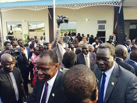 SPLM G-5 arrives in Juba: Deng Alor Kuol, Ex-minister of cabinet affairs; Kosti Manibi Ngai, Ex-minister of finance & eco-planning; Cirino Hiteng Ofuho, Ex-minister in office of Kiir; John Luk Jok, Ex-minister of Justice and the source of crisis; and Madut Biar Yel, Ex-minister of telcom & postal services.