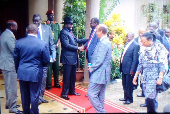 President Kiir receiving the advance team of the G-10 in Juba, South Sudan