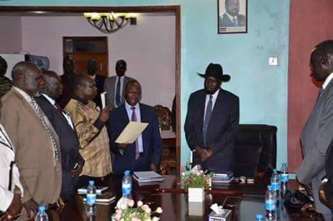 The swearing in ceremony of Pagan Amum after his reinstatement inot his former position of SPLM SG