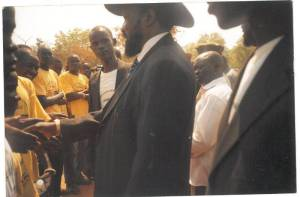 One of my days when I let my Little Doves Choir and South Sudanese students in Uganda to meet President Kiir over the project called 'Students' Fees Supplementary Funds', which was robbed from me by the committee of the government, the money of which was brought and distributed to students but stolen in Uganda in 2007 to 2010.