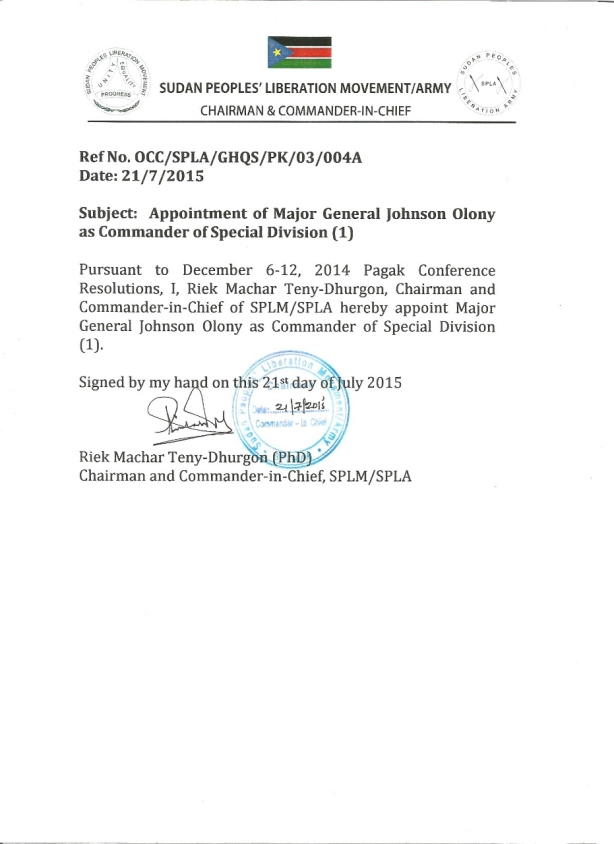 Riek Machar appointed Gen. Johnson Olony