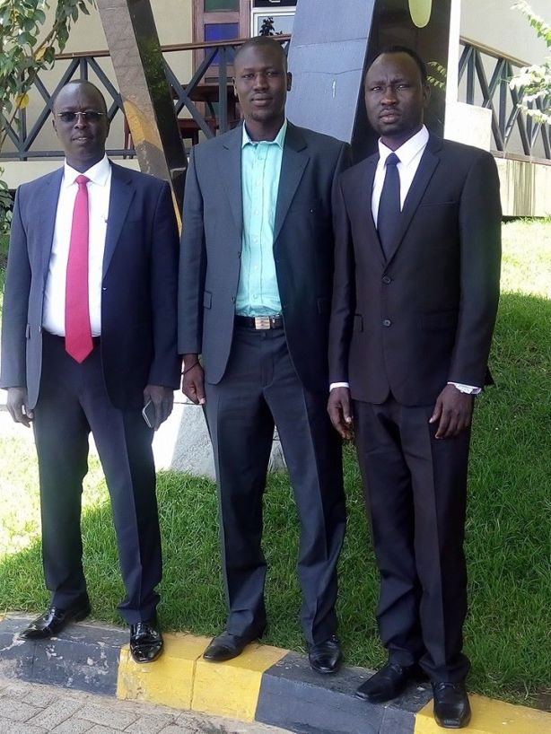 Alier Ateny (right side) and his colleagues: Peter Mabior Riiny and Hon. Ayii Ayii Akol. Whereas Alier is being declared an enemy by his own people, the two guys and their members from Northern Bahr al Ghazal and Warrap, as well as from other states, are left to their own political determination.