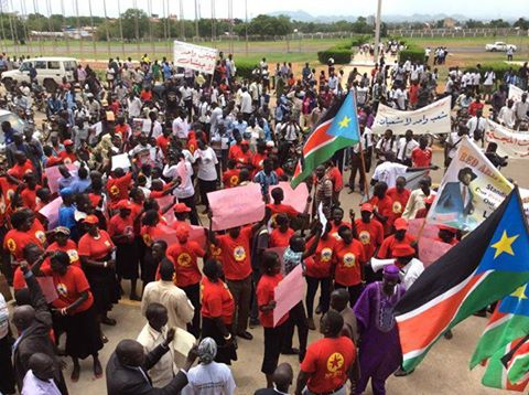 Demonstration in Juba against the peace proposal of Nyagat (IGAD)