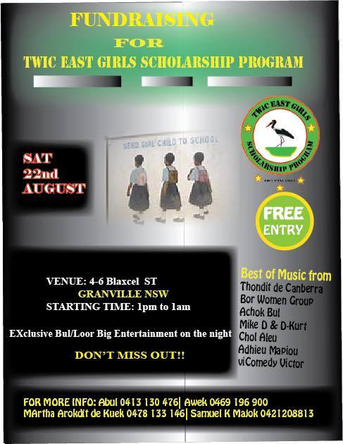 Twic East Girls Scholarship Program (TEGSP) to conduct the first fundraising event in Sydney, Australia this coming Saturday, the 22nd of August, 2015