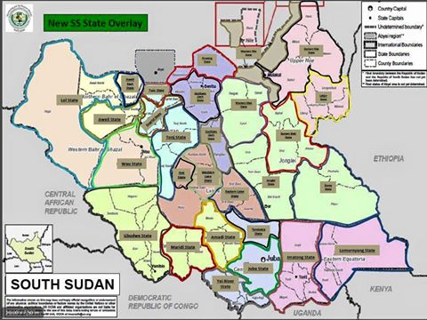 Map of the 28 states decreed by President Kiir on 2 October 2015