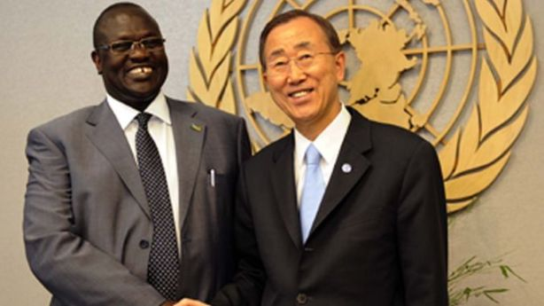 Riek Machar with Ban Ki-moon