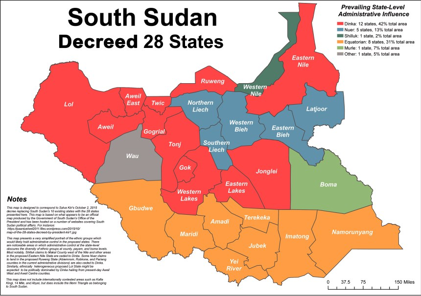 The Federal States Of The Republic Of South Sudan PaanLuel - Republic of the sudan map