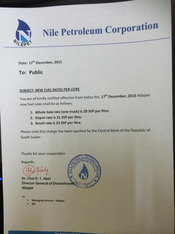 Nilepet increases fuel rates in Juba