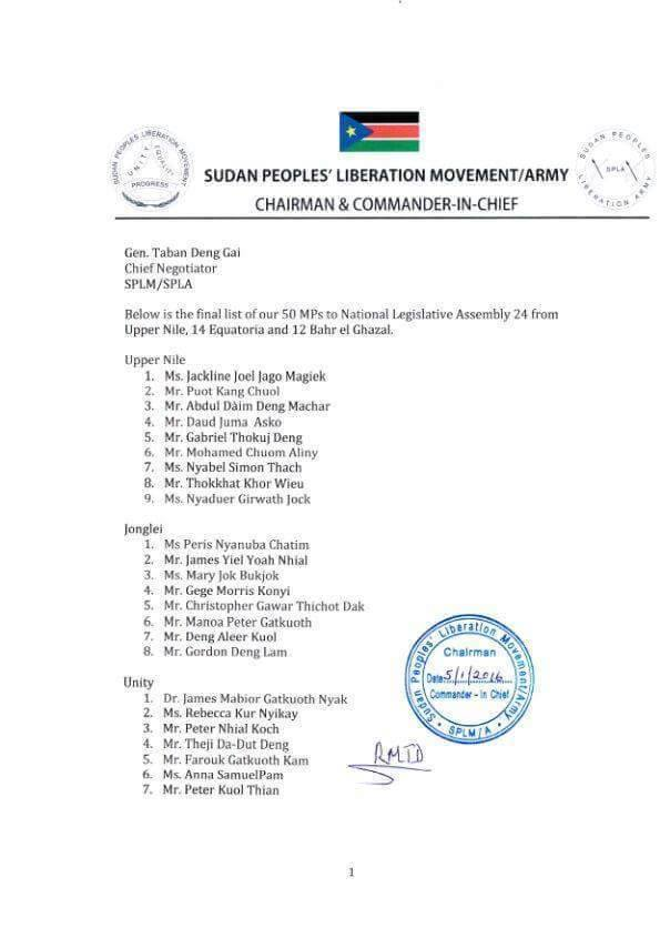 SPLM-IO members of parliament1