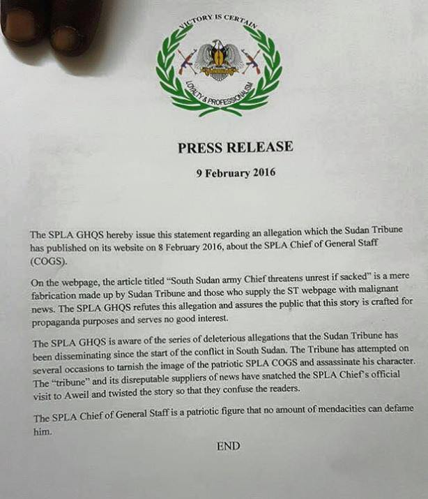 Press statement from SPLA headquarters