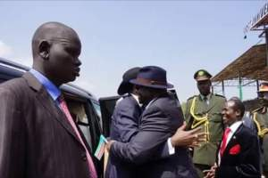 'HUGGABILITY TEST' FOR SALAAM FI JUNUB E SUDAN! WILL THIS GOOD OLD DAYS' BROTHERHOOD RETURN TO US AGAIN? What if Kiir comes out to hug Riek on arrival? Will their 'looternants' not fall down and collapse? Which pair do you believe will collapse first among the following? 1- Michael Makuei hugging Lado Gore 2- Paul Malong with Gatwech Dual 3- Ezekiel Lol hugging Peter Bashir 4- Taban Deng hugging Nhial 4- Mabior Garang hugging Lul Ruai 5- Akol Paul with Puot Kang 6- Gordon Buay hugging Jesus Deng 7- Mama Ayendit hugging Mandit Angelina 8- Dookdit (in Bor) hugging Nyabathdit (in PoC1) 9- Dak Kueth hugging Bany-Bith 10- Yoweri Museveni hugging Omar Bashir 11- Barrack Obama hugging Vladimir Put-in 12- Add yours here... 13- Add yours here... NB: Oops sorry, I forgot in the picture: 15- That Longbody-(guard) hugging this Tallbody-(guard). This is for LOL (but not State or Ezekiel)!