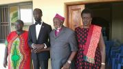 Hon. Mabioor Garang de Mabioor with Retired Bishop Nathaniel Garang Anyieth and Madam Nyandeng at the home of Bishop Garang