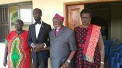 Hon. Mabioor Garang de Mabioor with Retired Bishop Nathaniel Garang Anyieth and Madam Nyandeng at the home of Bishop Garang