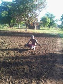 Mou Magok, the author, in his garden in Yirol, Eastern Lakes State.