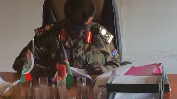 Mrs Aluel Ayiei Chath, top high ranking spla officer at her office in Bilpam
