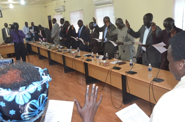 Chairpersons, Deputies and Members of Jonglei state commission being sworn in 25 April 2016 picture by Mach Samuel