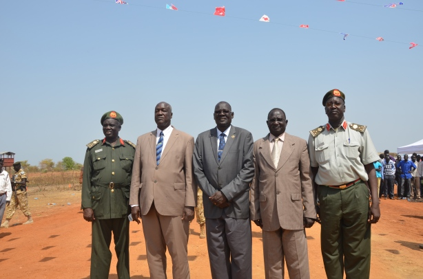 Gen. Wal AThieu posted with Defence minister and other generals during the launching of second phase construction of Bor-Juba road 29th January 2015 Picture by Mach Samuel