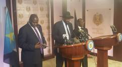 President Kiir and VPs Kiir, Machar and Igga addressing the Media via SSBC inside presidential palace now as gunfire continue in Juba