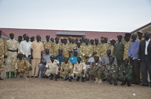 Jonglei state wild director Gen Zackeria Atem, promoted officials and governor of Jonglei State Philip Aguer picture by Mach Samuel