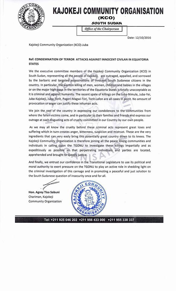Kajokeji press statement paanluel wl south sudanese bloggers kajokeji press statement thecheapjerseys Gallery