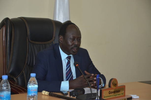 H.E. Philip Aguer governor of Jonglei state addressing council today picture by Mach Samuel.jpg